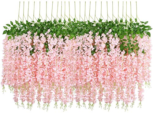 U'Artlines 24 Pack 3.6 Feet/Piece Artificial Fake Wisteria Vine Ratta Hanging Garland Silk Flowers Home Party Wedding Decor(24,Light Pink)