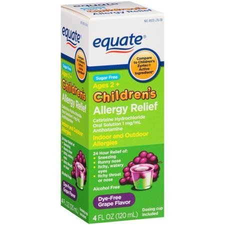Equate Childrens Allergy Cetirizine Suspension, Grape, 4 oz, Sugar-Free, Dye-Free