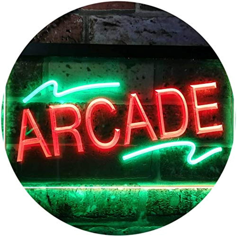 Arcade Game Room Man Cave Dual Farbe LED Barlicht Neonlicht Lichtwerbung Neon Sign Grün & rot 400mm x 300mm st6s43-i0427-gr