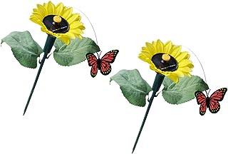 4x Solar Powered Garden Decor Dancing Flickering Butterfly Stake Bird Flower
