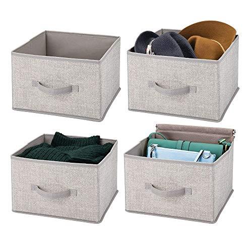 mDesign Juego de 4 organizadores para armarios de tela – Cajas de tela para ordenar armarios con diseño clásico – Cajas organizadoras para ropa, mantas y otros accesorios – marrón claro