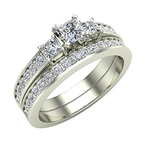 Wedding Rings Bridal Set Princess-cut engagement ring Gift Box Authenticity Cards 14K White Gold w/Band 1.06 carat t.w Three stone diamond ring (J, I1) (Ring Size 8)