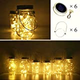 Cynzia Solar Mason Jar Lid Lights, 6 Pack 10 LED Waterproof Fairy Star Firefly String Lights with (6 Hangers Included,Jars Not Included), for Mason Jar Table Garden Wedding Party Decor (Warm White)