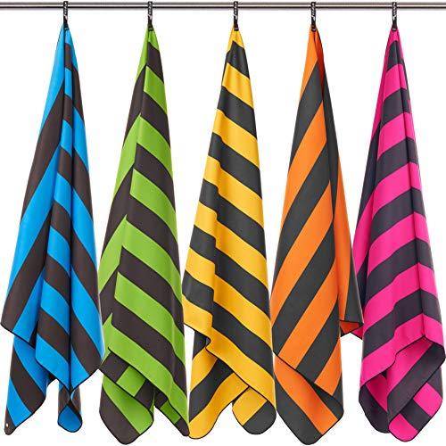 Fit-Flip Strandhandtuch XXL 200x100cm / Pink - Dunkelgrau gestreift- mikrofaser Handtuch 200, strandhandtuch Kinder, extraleichte badetücher
