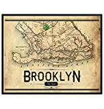 Vintage Brooklyn New York City Wall Art Map Print - Ready to Frame Photo (8X10) - Perfect Gift for NYC Map Fans and Great for Home Decor