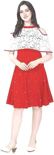 Round Neck Girls Poly Crepe Flare Midi Dress