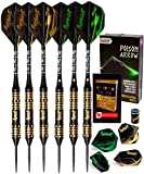 IgnatGames Steel Tip Darts Set - Professional Darts with Aluminum Shafts, Rubber O'Rings, and Extra Flights + Dart Sharpener + Innovative Case + Darts Guide (24g Poison Arrow)