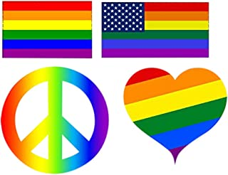Rogue River Tactical 4 Pack Different Heart Peace Sign Rainbow Flag Car Decal Bumper Sticker Gay Pride LGBT Gay Lesbian Bisexual Transgender Support (Complete Set)