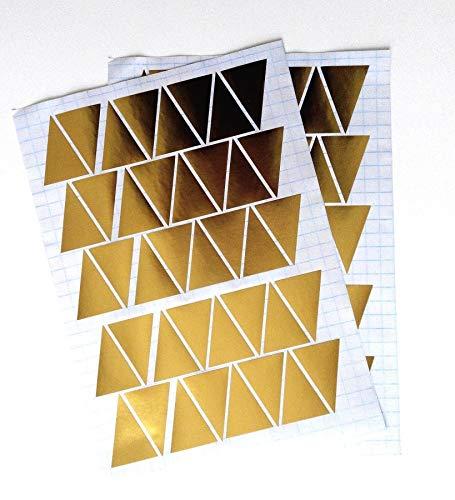 Lot de 30 autocollants triangulaires en vinyle dorés pour chambre d'enfant Motif triangles et triangles faciles à appliquer