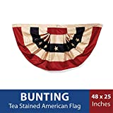"""Darice Tea Stained American Flag Bunting–48"""" x 25"""" –Easy to Hang Patriotic Decoration for Indoor/Outdoor Use, Holds up to Weather, USA Bunting for Holidays or All Year Long, Polyester(1-Piece)"""
