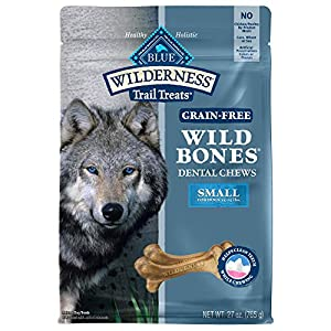 Blue Buffalo Wilderness Wild Bones Grain Free Dental Chews Dog Treats, Small 27-oz bag