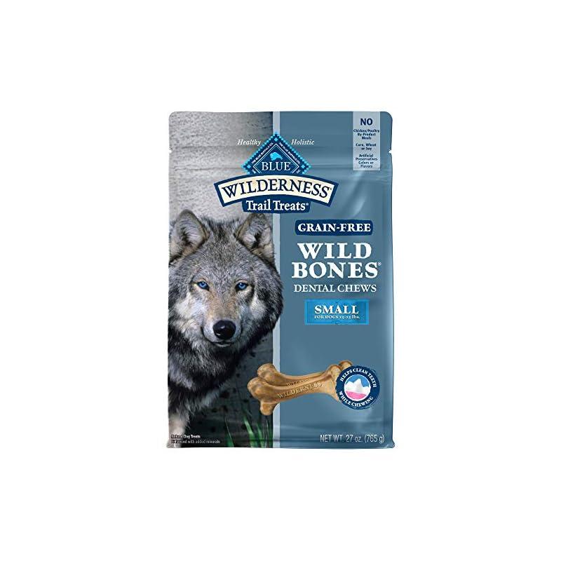 dog supplies online blue buffalo wilderness wild bones grain free dental chews dog treats, small 27-oz bag