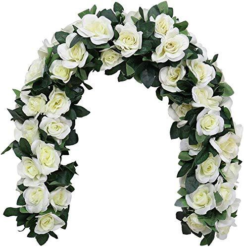 HZAMING - Guirnalda de Rosas Artificiales para Colgar, Hiedra de Rosas, Boda, hogar, Oficina, Arco, decoración, Blanco-16 Flor, 2 PC