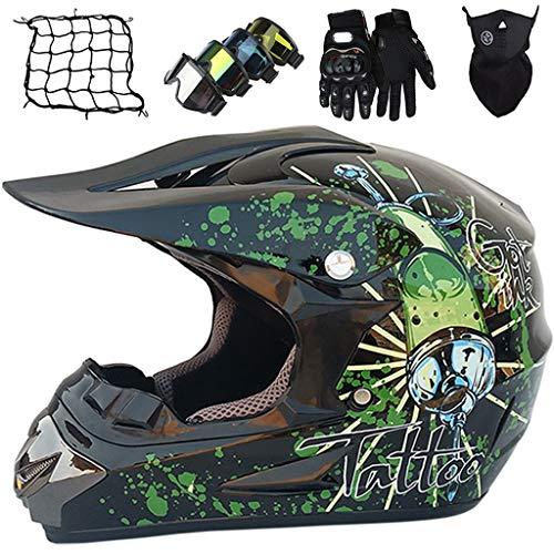 Conjunto de Cascos Moto para Niño 5~16 Años, Casco de Motocross Adulto & Jóvenes, Casco Integral MTB ATV Go-Kart Dirt Bike con Guantes/Gafas/Máscara/Red de Bungy (5 piezas), Negro Brillante