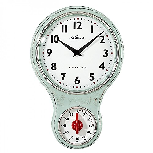 Atlanta Uhren 6124/6 Quarz Wanduhr 205 mm x 65 mm x 31 mm Hellgrün