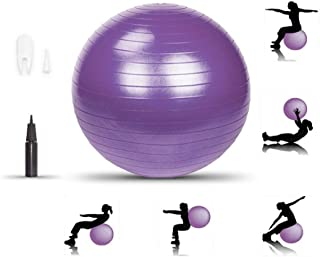 LIXOTO Yoga Ball, Exercise Ball Fitness Balls Stability Ball, 55cm 800g Balance Ball with Pump, Extra Thick Eco-Friendly &...