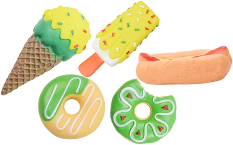 CheeseandU 5Pack Durable Rubber Squeaky Dog Chew Toy, Interactive Fun Pet Fetch Toy, Ice Cream Shaped Pet Toy Food Donut Chew Toy for Small, Medium Dogs Multicolor