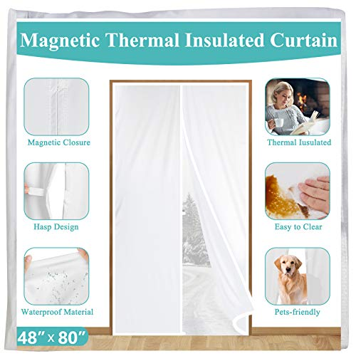 Magnetic Thermal Insulated Door Curtain 48 x 80, White Plastic TPU Screen Door Cover with Magnets for Patio Glass Door,French Door, Kitchen, Ac Room,Warm Winter,Cool Summer