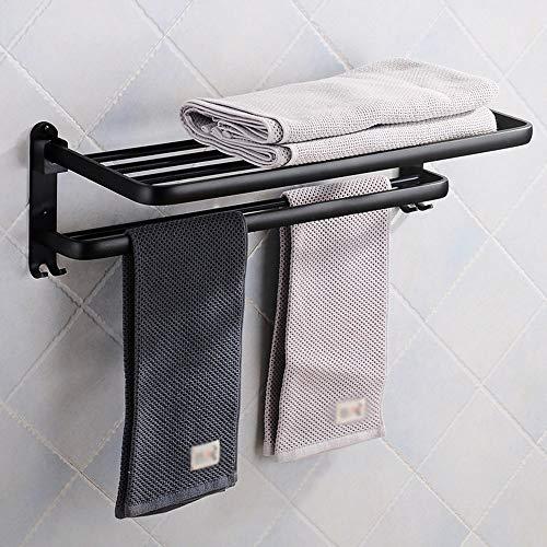 DelongKe Handtuchhalter, Faltbar Handtuchstange Badetuchhalter Schwarz Stabil Regalhalter, Handtuchhalter Konsolenträger Aufsatz-Waschschale,60cm/23.6in