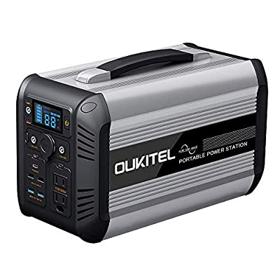 OUKITEL Portable Power Station CN505, 614.4Wh Safe LiFePO4 2000 Times Life Cycle 110V/500W Outdoor Solar Generator Power Supply with AC Outlet for Camping, Road Trip, Fishing, Outdoors (Black)