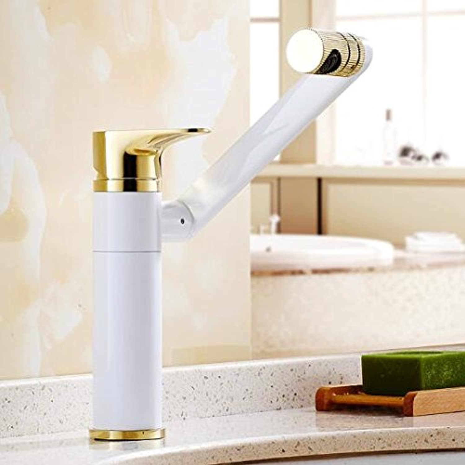 CZOOR New redating Basin Faucet Brass Bathroom Faucet Luxury gold and White Foldable Kitchen Sink Faucet Water tap Sink Faucet,Short