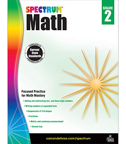 Spectrum Second Grade Math Workbook – Addition, Subtraction, Fraction Mathematics With Examples, Tests, Answer Key for Homeschool or Classroom (160 pgs)