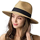 Womens Wide Brim Straw Panama Hat Fedora Summer Beach Sun Hat UPF Straw Hat for Women (Dark Khaki, L)