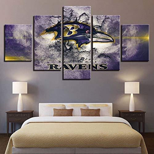 Wall Art HD 5 Piezas Abstract Poster Frame Canvas Picture Animal Print Crow Football Pintura de Pared para la decoración de la Oficina en casa