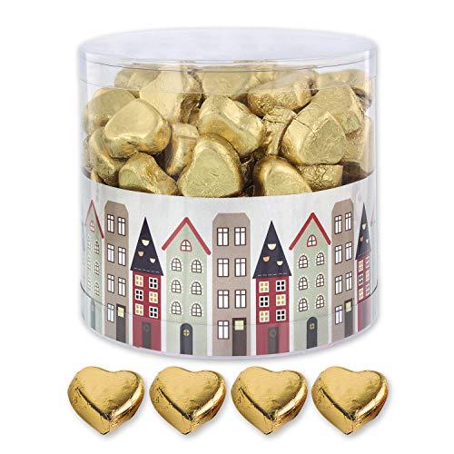 Günthart 150 Stück gold Schokoladen Herzen mit Nougatfüllung | Nougatcreme Fachwerk Häuser | Schokoladenherzen gold Häuserfront | Give away | goldene Herzen aus Schokolade | Häuser (1,2 kg)