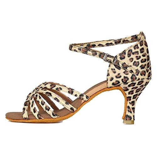 HROYL Zapatos de Baile Latino Mujer Salsa Tango Bachata Vals Zapatos de Baile de Salon,213-Leopardo-7,EU 39