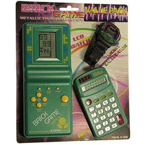 BVC Pack de Tetris + Reloj + Calculadora para niños - Mod.EV-3000 Color Verde