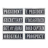 8 Pack 4'Wx1'H MC/RC Officer Title Rank Vest Patches President VP Rocker Rider Motorcycle Biker Patches Name Jacket Patches Appliqued Iron on (Black Ground+White Texts+White Border)