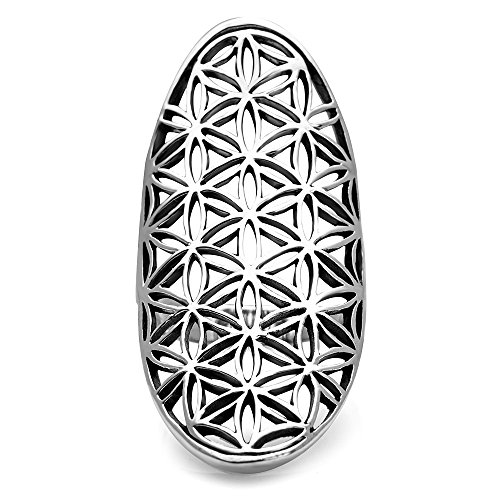 Chuvora 925 Sterling Silver Open Filigree Flower of Life Symbol 4 cm Long Large Band Ring Size 6
