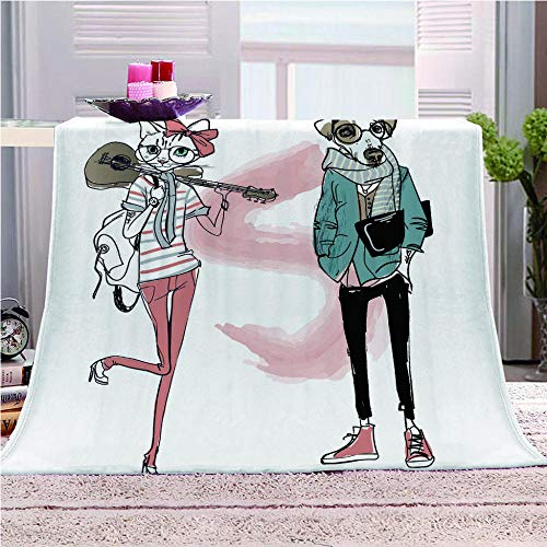 LIUDALA Bed Blanket 3D print Fleece Blankets Fluffy Throw Blanket Throw Blanket Sherpa Blanket for Child Adults Soft Throw Blanket for Bed,Couch,and Travel blanket150x200cm-Cat girl and mr dog