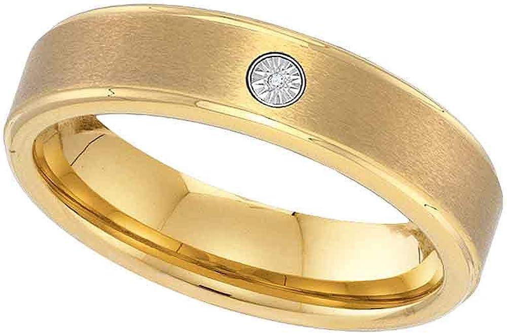 L U DIAMONDS Yellow-tone Tungsten Ring Band Mens Carbide Brand new Diamond Max 61% OFF