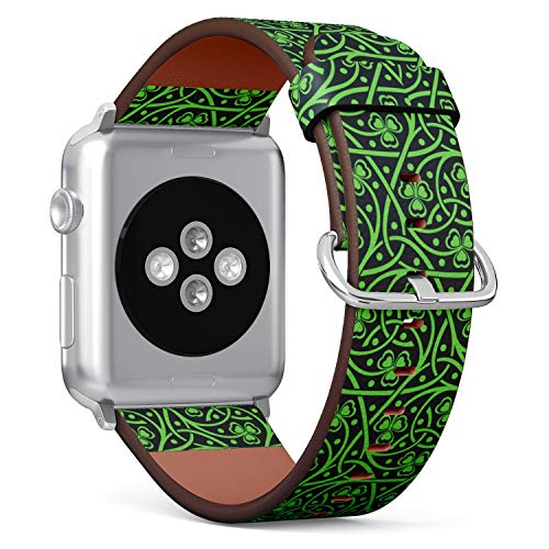 ( Irish Celtic Pattern with shamrock )Patterned Leather Wristband Strap for Apple Watch Series 4/3/2/1 gen ,Replacement for iWatch 38mm / 40mm bands
