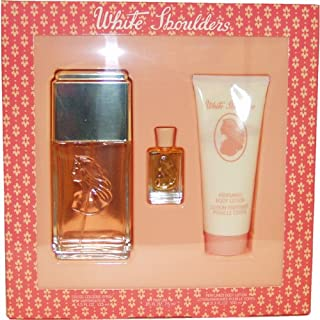 White Shoulders by Evyan | Classic Floral Fragrance for Women with Amber, Musk, and Oak Moss | 3-Piece Gift Set Includes 4.5 oz Eau De Cologne Spray, 3.3 oz Body Lotion, and 7.5 mL Mini