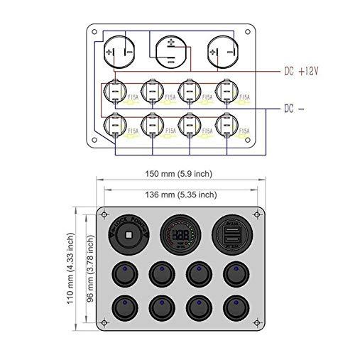 N\A Circuit Breaker Impermeable Panel Interruptor de Palanca for el Barco del Barco del Coche RV del Carro ATV UTV Camper Caravana 1Pc 12V RV Coches Marina 8 Gang, Interruptor de relevo de Coche
