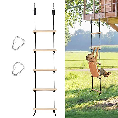 MONT PLEASANT Rope Ladder for Kids Climbing Obstacle Wooden Swing Rope Ladder with 2 Hooks for Kids Climbing Game Hanging Ladder for Swing Accessories, Tree House, Playground, Play Set