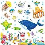 Decowall DW-1311 Unter dem Meer Meerestiere Tiere Wandtattoo Wandsticker Wandaufkleber Wanddeko fr Wohnzimmer Schlafzimmer Kinderzimmer