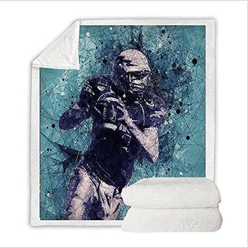 Azul Manta Microfibra Jugador de Rugby Extra Suave Acogedora y Cálida Manta 3D Suave y Cálida Manta de Respirable para Sofá Cama y Sofá 76 X 100 CM