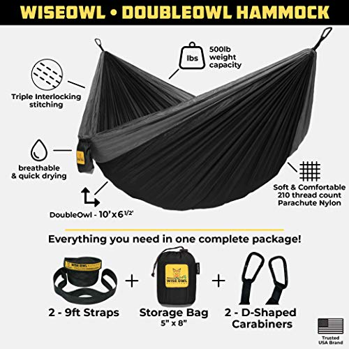 510z2O+aqrL - Wise Owl Outfitters Hammock for Camping Single & Double Hammocks Gear for The Outdoors Backpacking Survival or Travel - Portable Lightweight Parachute Nylon SO Black & Grey