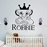 WERWN Etiqueta de la Pared del Rey León Personalizado Nombre Personalizado niño Simba y Mufasa Famoso Mural de decoración de habitación de niños 30x34cm