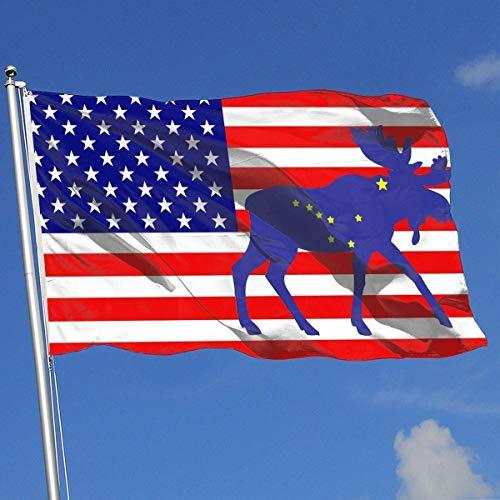 Oaqueen Flagge/Fahne Alaska Flag Moose Flag 3x5-Flags 90x150CM-Banner 3'x5' FT