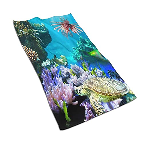 AOOEDM Toallas de mano, coloridos peces de tortuga de mar subacuático, estampado de patrón suave y altamente absorbente toalla de baño para baño, hotel, gimnasio y spa, 27.5 x 15.5 pulgadas