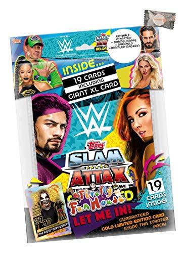 Reloaded WWE Slam Attax Trading Cards Sammelkarten (2020) - 1 Starter + stickermarkt24de Gum