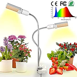 LED Grow Light for Indoor Plant, Relassy Sunlike Full Spectrum Grow Lamp, Dual Head Gooseneck Plant Light with Replaceable Bulb, Double Switch, Professional for Seedling Growing Blooming Fruiting