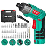 Cordless Screwdriver 6 N.m, HYCHIKA 3.6V 2.0Ah Electric Screwdriver Rechargeable Screw Gun, Front LED and Rear Flashlight, Ratchet Wrench, DC Charging with USB Cable, 36pcs Accessories, Carrying Box