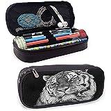 Tiger Firm Pencil Bag Close up Foto de una bestia felina salvaje con una mirada intensa Fuerza de un cazador Gris Negro