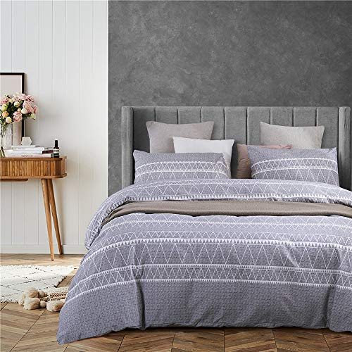 GreySupplies Bohemian Queen Duvet Cover Set Lightweight Soft Grey Triangle 3PC Comforter Cover Set Hotel Quality (1 Duvet Cover + 2 Pillow Shams)